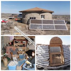 Earth bag house in Christmas Valley, OR | built by Brett Metcalf -Perfect for desert conditions~Lots of dirt, minimal use of wood~Solar panels too!
