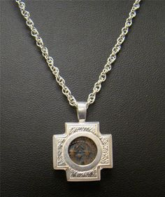 """STERLING SILVER NECKLACE PENDANT 18"""" CHAIN ANCIENT PRUTA COIN WIDOW'S MITE 10g #Pendant"""