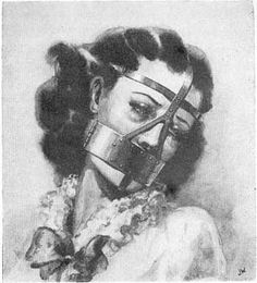 The Scold's Bridle was a medieval device used for humiliating and scolding women accused of adultery, witchcraft, etc. The woman's tongue would be pressed down by a spiked plate that prevented her from speaking or eating while wearing the headpiece. She would be led down town streets on a chain leash (normally held by her husband) while being humiliated and beaten.