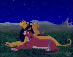 Ahadi, Uru, and their cubs, Mufasa and Scar.