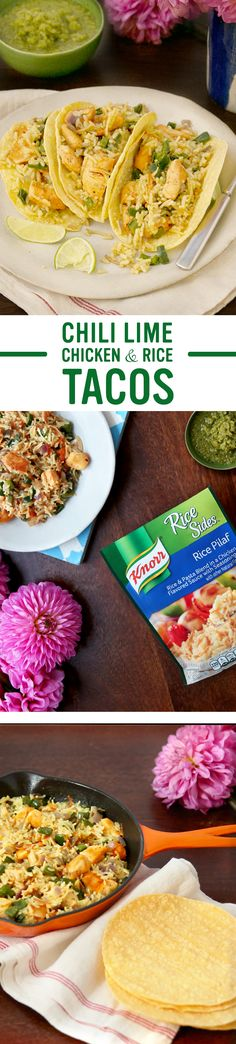 Knorr's recipe for Chili Lime Chicken & Rice Tacos is full of Mexican inspired flavor. The cool taste of this caliente dish includes tender chicken, zesty peppers, & fresh onion. Make this easy dinner tonight: 1. Cook chicken 2. Add pepper & onion 3. Stir in Knorr® Rice Sides™ - Rice Pilaf. Serve w/ corn tortillas or taco shells, sour cream, lime wedges, & salsa verde. Enjoy! Chili Lime Chicken, Lime Chicken Tacos, Chicken Rice, Easy Recipes, Chili Recipes, Mexican Food Recipes, Dinner Recipes, Ethnic Recipes, Dinner Tonight