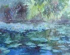 Original watercolor painting от KISILOVWATERCOLOR на Etsy Maker Shop, Cool Landscapes, Watercolor Techniques, Impressionism, Painting, Artist, Painting Art, Artists, Paintings