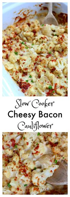 Slow Cooker Cheesy Bacon Cauliflower Slow Cooker Cheesy Bacon Cauliflower–a slow cooker cauliflower side dish that is enveloped in a velvety mozzarella cheese sauce and topped with crispy, crumbled bacon. Slow Cooker Huhn, Crock Pot Slow Cooker, Slow Cooker Chicken, Slow Cooker Recipes, Crockpot Recipes, Cooking Recipes, Slow Cooker Appetizers, Slow Cooker Casserole, Bacon Appetizers