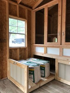 Interior of converted shed into henhouse and storage in Orlando, Florida Chicken Swing, Chicken Shed, Chicken Barn, Chicken Coup, Chicken Life, Backyard Chicken Coops, Chicken Coop Plans, Building A Chicken Coop, Diy Chicken Coop
