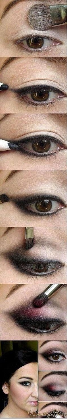 DIY Eye Makeup Tutorial... can substitute almost any other color for the magenta Where to buy Real Techniques brushes makeup -$10