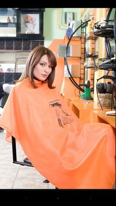 Girl is caped in a lovely orange snapcape in the chair Cut My Hair, Long Hair Cuts, Updo Styles, Long Hair Styles, Brunette Haircut, Shaved Hair Cuts, Roller Set, Longer Hair, Barber Chair