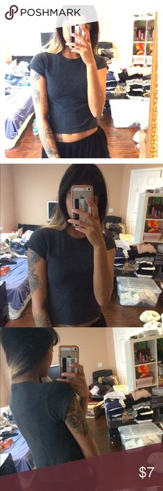 Brandy Melville dark grey crop top Cute top, has tiny slits on the side (: Brandy Melville Tops Crop Tops