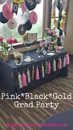 CLICK through for favor table ideas from this Black*Gold*Pink graduation Party… Pink Graduation Party, Graduation Open Houses, College Graduation Parties, Graduation Celebration, Graduation Decorations, Grad Parties, Birthday Parties, Graduation Ideas, Birthday Decorations