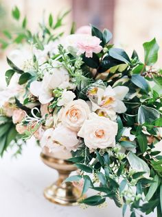 Sultry + romantic overflowing florals: http://www.stylemepretty.com/texas-weddings/horseshoe-bay/2016/02/02/sultry-romantic-spanish-elopement-inspiration/ | Photography: Stephanie Brazzle - http://stephaniebrazzle.com/