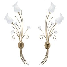 A pair of wall sconce hand made by Bone China and pure brass.