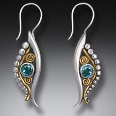 Handmade Silver Egyptian Eye Earrings with Blue Topaz and 14kt Gold Fill - <b>Eye of Horus</b>