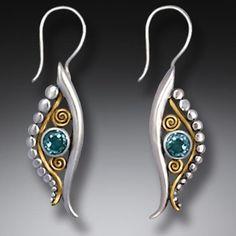 Handmade Silver Egyptian Eye Earrings with Blue Topaz and 14kt Gold Fill - <b>Eye of Horus</b>
