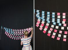 Use paint chips to create this star spangled backdrop.