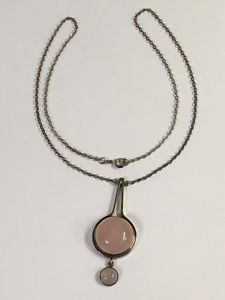 Quartz Necklace, Pendant Necklace, Pink Quartz, Vintage Jewellery, Finland, Silver Jewelry, Modern, Stuff To Buy, Ebay