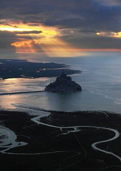 Sunset In Mont Saint-Michel, France
