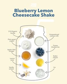 This sweet, creamy, and tart Lemon Blueberry Cheesecake Shake is a satisfying treat that's packed with indulgence from whole foods! Protein Powder Recipes, Protein Shake Recipes, Protein Shakes, Yummy Drinks, Healthy Drinks, Drink Recipes, Whole Food Recipes, Lemon Blueberry Cheesecake, Meal Replacement Shakes