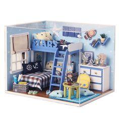 Kits DIY Wood Dollhouse Miniature with LED Furniture Cover Doll House Blue Sky | eBay