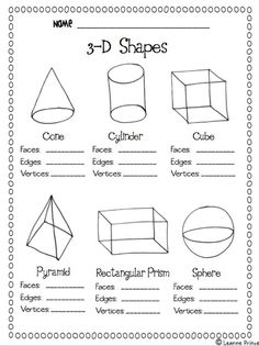 Geometry 3D Shapes Worksheets Worksheets for all | Download and ...