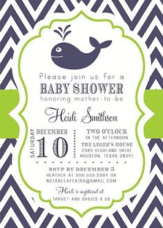 Navy and Chartreuse Lime Green Chevron Whale Baby Shower or Birthday invitation