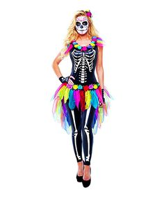 Women's Skeleton Costume Set by Goddessey on #zulily i bet this would be a fairly easy diy dia de los muertos costume if you get Halloween skeleton pajamas and cut off arms. Make a no sew tutu diy. Flowers on neckline and in hair. Pretty!