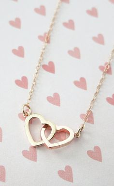 Levo Loves... Rose Gold Double Heart Infinity necklace simple