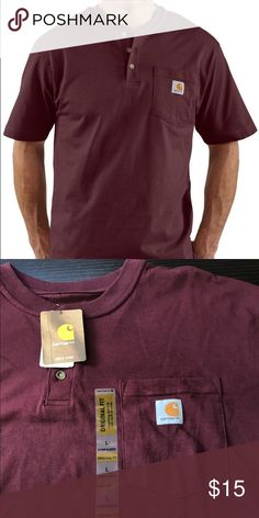 """Carhartt K84 Men's Short Sleeve Workwear Henley Carhartt K84 Men's Short Sleeve Workwear Henley - Made from Carhartt's premier 6.75 ounce cotton and features a rib-knit collar and three button placket. It is great for warm summer days or for layering when the weather gets cool! •  6.75-ounce, 100% cotton jersey knit •  Original Fit •  Rib-knit collar •  Three button front placket •  Side-seamed construction minimizes twisting •  Left chest pocket with Carhartt logo label •  Sleeve has 1"""" hem…"""
