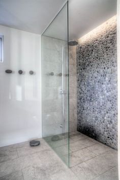Stylish Shower Room With Rainfall Shower Head And Glass Panel Also Stone Wall Decorated By Hidden Led Lamp Transparent Family House in Iceland Home design Bathroom Renos, Basement Bathroom, Bathroom Interior, Small Bathroom, Master Bathroom, Bathroom Ideas, Bathroom Cost, Bathroom Layout, Stone Bathroom