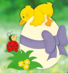 Spring-Easter duck and ladybug window paper decor (free template)