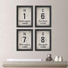 Periodic Table of Elements Print Quad Set - Restoration Hardware Inspired Art  - You Pick the Size (NS-452)