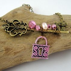 Wire Wrapped Brass Key Necklace. $18.00, via Etsy.