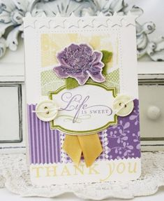 Life Is Sweet Thank You Card by Melissa Phillips for Papertrey Ink (July 2012)