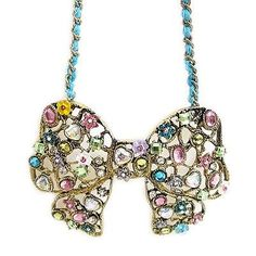 NEW! BETSEY JOHNSON Jewelry FAIRYLAND Fairytale Bow Ribbon COLORFUL Necklace