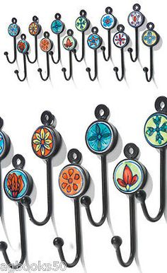 Coat Hook Hand Painted Ceramic Small Metal Hooks Various Colours Fair Trade New Diy And Crafts, Arts And Crafts, Modern Candles, Mosaic Crafts, Coat Hooks, Hand Painted Ceramics, Wooden Diy, Inspirational Gifts, Mosaic Glass