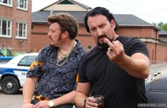 My boyfriend and I want to be Ricky and Julian from trailer park boys for Halloween. How do I emulate Rickys hairstyle? Trailer Park Boys Costume, Ricky Tpb, Sunnyvale Trailer Park, Classic Trailers, People Smoking, Celebrity Hair Colors, Boys Wallpaper, Boy Pictures, Baddies