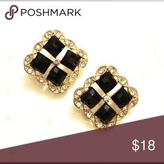 Elegant Square Pierced Earrings Made of Goldtone material.  Black squares adorn the front with rhinestones Boutique Jewelry Earrings