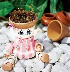 DIY garden decoration ideas  Cute dolls made of clay flower pots
