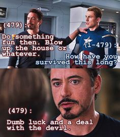 Tony has a confession, and Steve is somehow not surprised.// The best part is that this could legitimatly be actual dialogue.