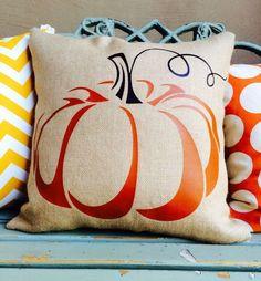 Fall pumpkin pillow on sultana burlap with burnt orange and brown heat press vinyl.  #pumpkinpillow, #fallpillow