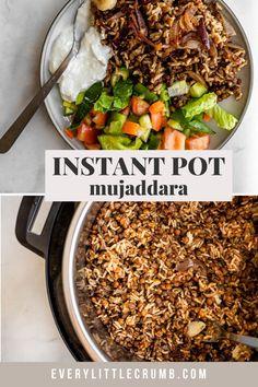 Rice Recipes Vegan, Vegan Dishes, Whole Food Recipes, Middle Eastern Lentil Soup, Lentils Instant Pot, Brown Rice Pilaf, Crumb Recipe, Simple Green Salad, Green Lentils