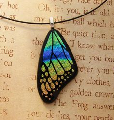 Butterfly Wing Fused Glass Pendant Yellow Blue by fusedelegance
