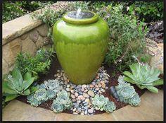 Green Garden Pot Fountain with Succulents