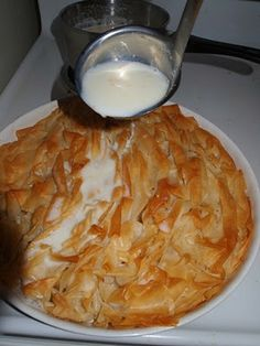 It All Tastes Greek To Me: Easy sweet milk phyllo pie (Patsavouropita) Greek Sweets, Greek Desserts, Greek Recipes, Cypriot Food, Pasta Filo, Greece Food, Homemade Sweets, Cooking Cake, Greek Cooking