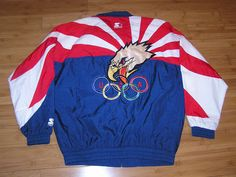 Vintage 90's Starter USA Olympics RARE Eagle Olympic Logo Jacket Adult Size L