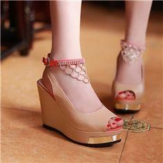 Elegant  Wedge Heels High  Platform PU  Peep toe Sandals With CZ Diamond Tassels