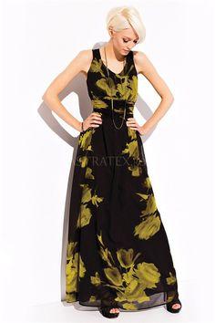 Szyfonowa długa sukienka Roxanne maxi floral dress black with green / promdress Floral Maxi Dress, Dresses, Dress Black, Green, Fashion, Vestidos, Moda, Fashion Styles, Dress