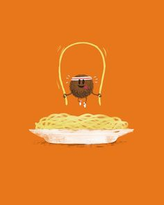 Funny and cute graphics and #illustrations  Italian #spaghetti with meatballs / workout