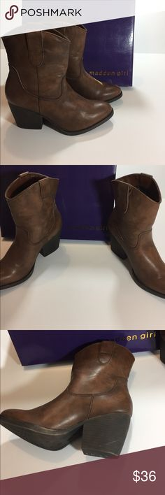 New Madden Girl Boots Ankle boots. Small heel cognac Madden Girl Shoes Ankle Boots & Booties