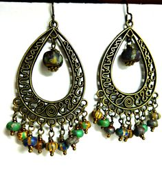 Czech glass striped bead, seed bead, Bronze earrings andria mckee, McKee Jewelry Designs,   hand made jewelry, jewellery