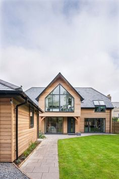 -Self Build / Front Exterior House. Timber frame house with timber cladding. Mode… Self Build / Front Exterior House. Timber frame house with timber cladding. Home building ideas Cost of building a house. House Cladding, Timber Cladding, Wooden Cladding Exterior, Timber Frame Homes, Timber House, Timber Windows, Front Windows, Home Building Design, Building A House