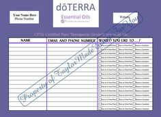 Do Terra Oils Sign in Sheet | More Terra oils ideas